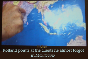 Michel Rolland Points to India in the film Mondovino
